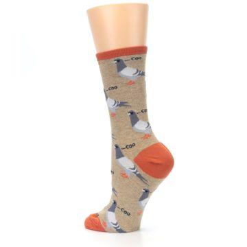 Image of Beige Dats Coo Pigeon Bird Women's Dress Socks (side-2-back-14)