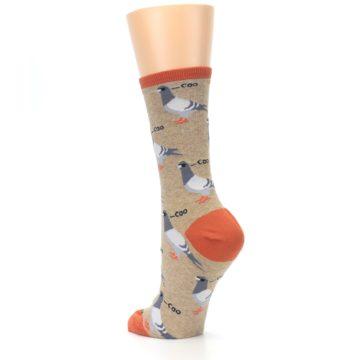 Image of Beige Dats Coo Pigeon Bird Women's Dress Socks (side-2-back-15)