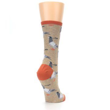 Image of Beige Dats Coo Pigeon Bird Women's Dress Socks (side-1-back-21)