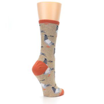 Image of Beige Dats Coo Pigeon Bird Women's Dress Socks (side-1-back-22)
