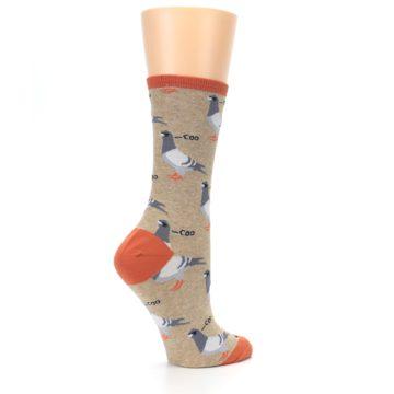 Image of Beige Dats Coo Pigeon Bird Women's Dress Socks (side-1-23)
