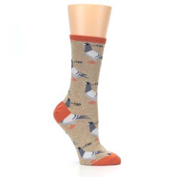 Image of Beige Dats Coo Pigeon Bird Women's Dress Socks (side-1-26)