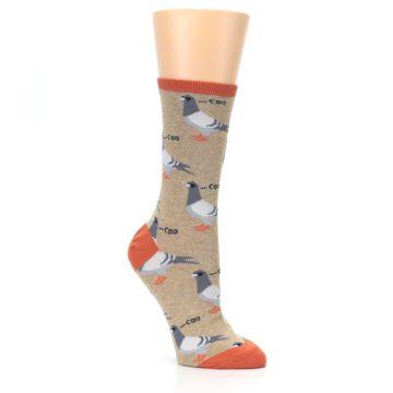 Image of Beige Dats Coo Pigeon Bird Women's Dress Socks (side-1-27)