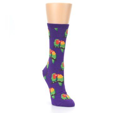 Image of Purple Multi Love Birds Women's Dress Socks (side-1-front-02)