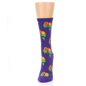 Image of Purple Multi Love Birds Women's Dress Socks (side-2-front-06)