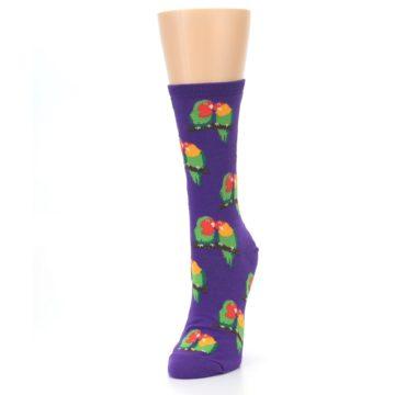 Image of Purple Multi Love Birds Women's Dress Socks (side-2-front-07)