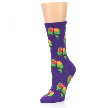 Image of Purple Multi Love Birds Women's Dress Socks (side-2-09)