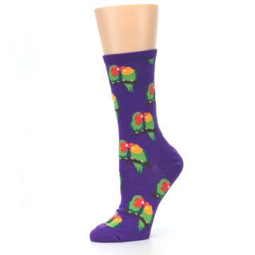 Image of Purple Multi Love Birds Women's Dress Socks (side-2-10)