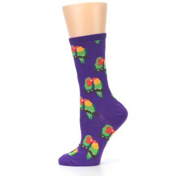 Image of Purple Multi Love Birds Women's Dress Socks (side-2-12)