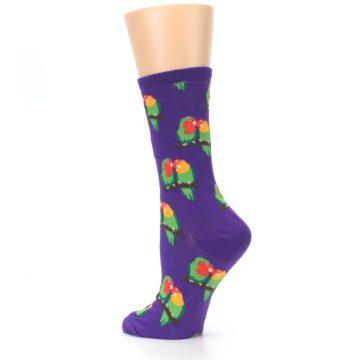 Image of Purple Multi Love Birds Women's Dress Socks (side-2-back-14)