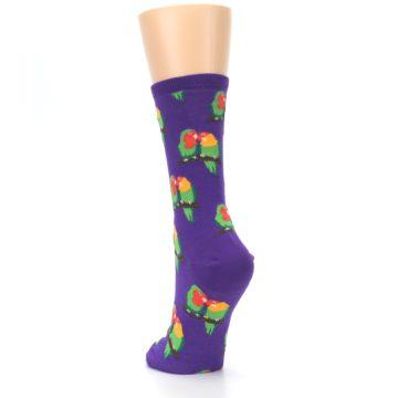 Image of Purple Multi Love Birds Women's Dress Socks (side-2-back-16)