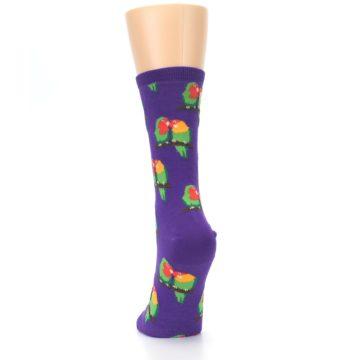 Image of Purple Multi Love Birds Women's Dress Socks (back-17)