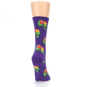 Image of Purple Multi Love Birds Women's Dress Socks (side-1-back-20)
