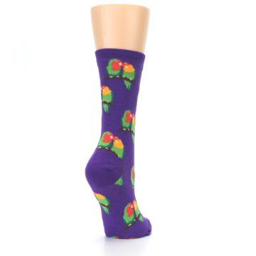 Image of Purple Multi Love Birds Women's Dress Socks (side-1-back-21)