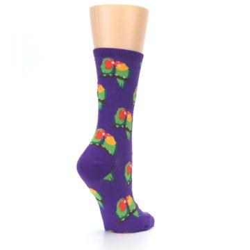 Image of Purple Multi Love Birds Women's Dress Socks (side-1-back-22)