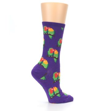 Image of Purple Multi Love Birds Women's Dress Socks (side-1-24)