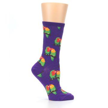 Image of Purple Multi Love Birds Women's Dress Socks (side-1-25)