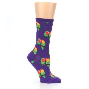 Image of Purple Multi Love Birds Women's Dress Socks (side-1-26)