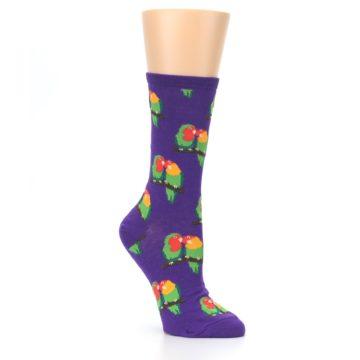 Image of Purple Multi Love Birds Women's Dress Socks (side-1-27)