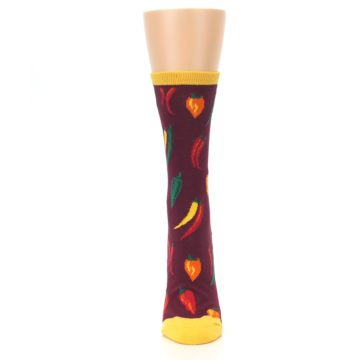 Image of Maroon Spicy Chili Peppers Women's Dress Socks (front-05)