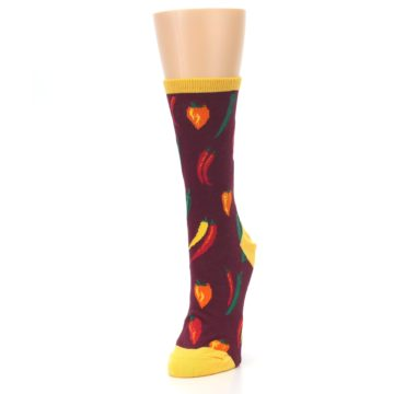 Image of Maroon Spicy Chili Peppers Women's Dress Socks (side-2-front-07)