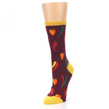 Image of Maroon Spicy Chili Peppers Women's Dress Socks (side-2-front-08)