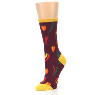 Image of Maroon Spicy Chili Peppers Women's Dress Socks (side-2-09)