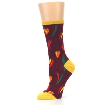 Image of Maroon Spicy Chili Peppers Women's Dress Socks (side-2-10)