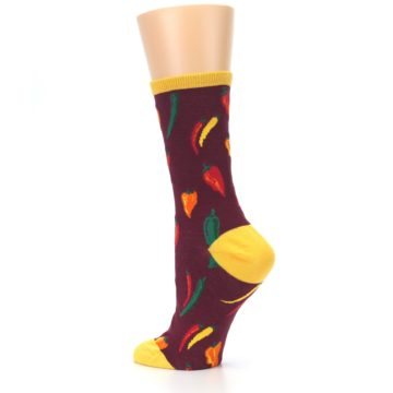 Image of Maroon Spicy Chili Peppers Women's Dress Socks (side-2-back-14)