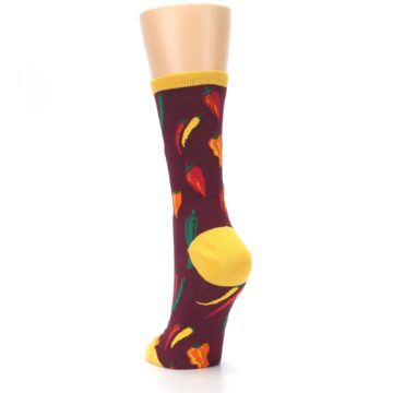 Image of Maroon Spicy Chili Peppers Women's Dress Socks (side-2-back-16)