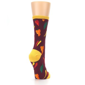 Image of Maroon Spicy Chili Peppers Women's Dress Socks (side-1-back-21)
