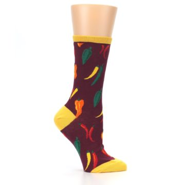 Image of Maroon Spicy Chili Peppers Women's Dress Socks (side-1-26)