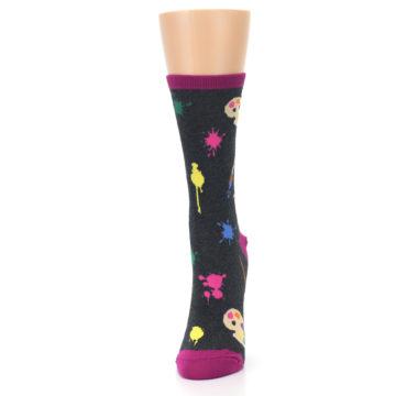 Image of Charcoal Multi Artist Paint Palette Women's Dress Socks (side-2-front-06)