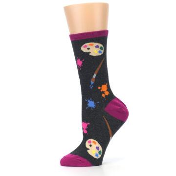 Image of Charcoal Multi Artist Paint Palette Women's Dress Socks (side-2-11)