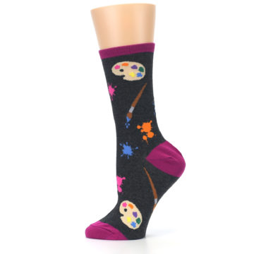 Image of Charcoal Multi Artist Paint Palette Women's Dress Socks (side-2-12)