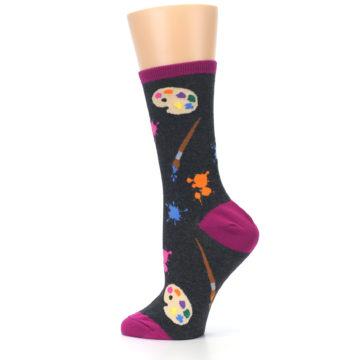 Image of Charcoal Multi Artist Paint Palette Women's Dress Socks (side-2-13)
