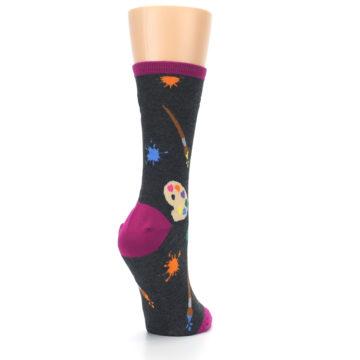 Image of Charcoal Multi Artist Paint Palette Women's Dress Socks (side-1-back-21)