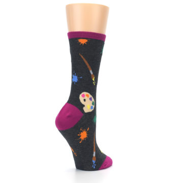 Image of Charcoal Multi Artist Paint Palette Women's Dress Socks (side-1-back-22)