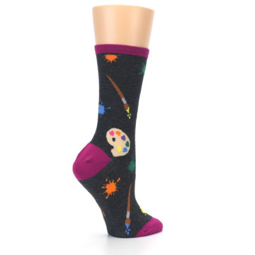 Image of Charcoal Multi Artist Paint Palette Women's Dress Socks (side-1-23)