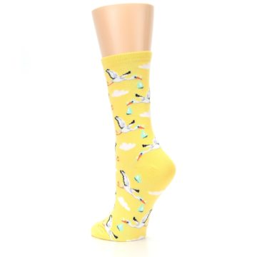 Image of Yellow Special Delivery Stork Women's Dress Socks (side-2-back-15)