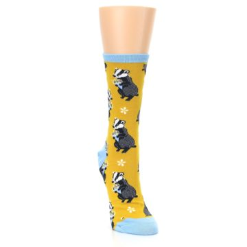 Image of Yellow Bashful Badger Women's Dress Socks (side-1-front-03)