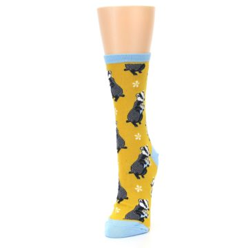 Image of Yellow Bashful Badger Women's Dress Socks (side-2-front-07)