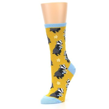 Image of Yellow Bashful Badger Women's Dress Socks (side-2-09)