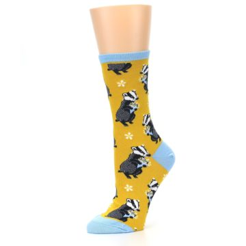 Image of Yellow Bashful Badger Women's Dress Socks (side-2-10)