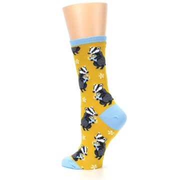 Image of Yellow Bashful Badger Women's Dress Socks (side-2-back-14)