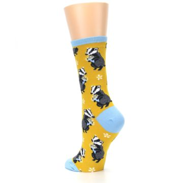 Image of Yellow Bashful Badger Women's Dress Socks (side-2-back-15)