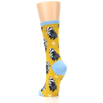 Image of Yellow Bashful Badger Women's Dress Socks (side-2-back-16)