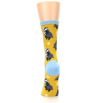 Image of Yellow Bashful Badger Women's Dress Socks (back-18)