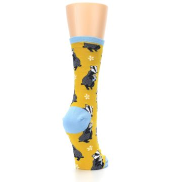 Image of Yellow Bashful Badger Women's Dress Socks (side-1-back-21)