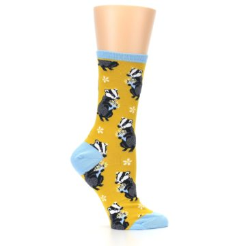 Image of Yellow Bashful Badger Women's Dress Socks (side-1-25)